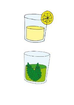 disegno di un bicchiere di acqua e menta e di un bicchiere di limonata