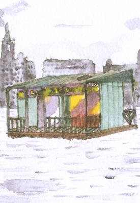 immagine ad acquarello del canale della giudecca con un bar galleggiante