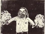 stampa artigianale di un barbone con degli esplosivi in mano