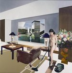 quadro con una donna nuda in un appartamento che passa l'aspirapolvere