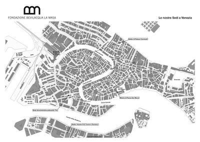 Mappa di Venezia con indicate le sedi della Fondazione BLM
