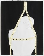 dipinto ad acrilico su carta raffigurante una figura umana appesa all'alto
