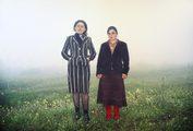due donne in piedi in un campo in una giornata nebbiosa