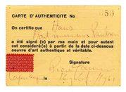 certificato di autenticità su carta gialla di un'opera di Piero Manzoni