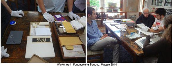 gli artisti studiano i libri presso la Fondazione Bonotto