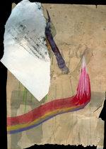 realizzazione digitale di un foglio marrone sul quale un pennello traccia delle linee colorate