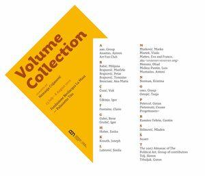 locandina della mostra Volume Collection con indicati tutti i partecipanti in ordine alfabetico