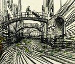 disegno a china di alcuni ponti di Venezia e di un uomo con un carretto da trasporto che porta un grande pacco