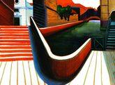 disegno sulle tonalità dei rossi rappresentante uno scorcio di ponti con un rio a Venezia