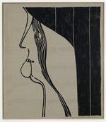 dipinto ad acrilico su lino raffigurante un volto di profilo che si morde il labbro ed ha un fascio di linee sul volto che sembrano lacrime