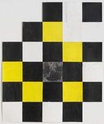 dipinto ad acrilico su carta con motivo a quadri da cui spunta una faccia