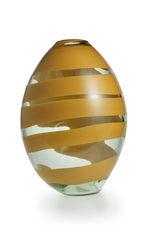 vaso ovale trasparente e giallo
