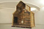 installazione con una mezza casetta di legno