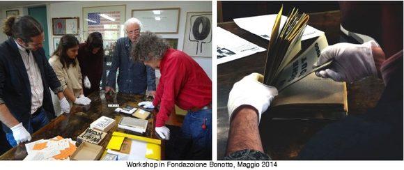 gli artisti della Bevilacqua osservano e studiano i libri Fluxus presso la Fondazione Bonotto
