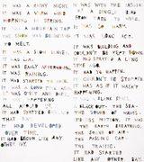 collage di fotografie ritagliate a forma di lettere che formano una poesia